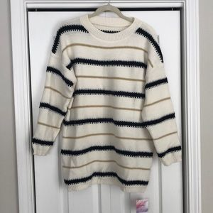 Brand New With Tags Chicwish Stripe Tunic Sweater